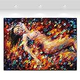 TTKX@ 100% Handgemalte Frauen Körper Leinwand Ölgemälde Einzigartige Wandkunst Für Wohnzimmer Schlafzimmer Dekoration, 60X80 cm