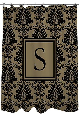 Manuelle holzverarbeiter & Weavers Vorhang für die Dusche, Monogramm Buchstabe S, schwarz und gold Damast (Damast-bad)