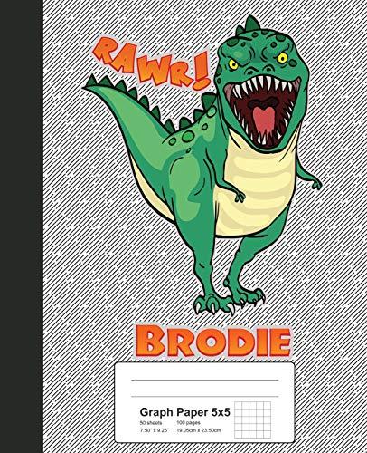 Graph Paper 5x5: BRODIE Dinosaur Rawr T-Rex Notebook (Weezag Graph Paper 5x5 Notebook, Band 2200) - 2200 Quad