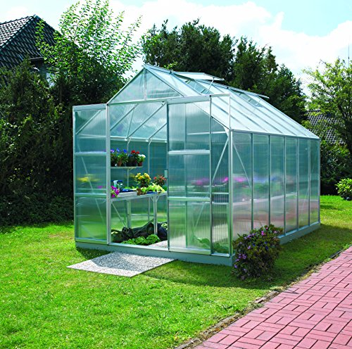 Gartenwelt Riegelsberger Gewächshaus Uranus – Ausführung: 9900 HKP 6 mm Alu, Fläche: ca. 9,9 m², mit 4 Dachfenster, Sockel: 2,54 x 3,79 m