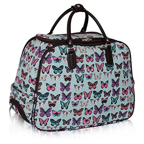 LeahWard® XL Reisetasche Reisegepäck Taschen Wagen Gepäck mit Rads 309 (blau Schmetterling Gepäck) (Taschen Qualität Gepäck)