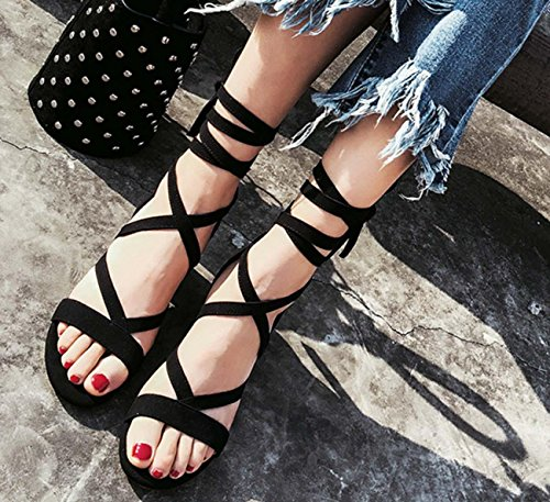 Sandalo per le donne Scarpe casual di scarpe da lavoro della Boemia di fascia della pelle scamosciata Black