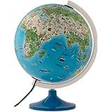 Tecnodidattica – Mappamondo Atmosphere Family Solid per bambini, luminoso, girevole, cartografia illustrata e meridiano gradu