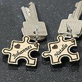 Bio-Echtholz Liebes-Anhänger, individuell graviert, Bio Schlüsselanhänger in verschiedenen Formen zur Auswahl, Form:Puzzle
