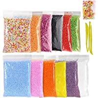 Foam Balls Slime Making Kit,Simuer 12 Pack Colorful Styrofoam Foam Beads for Slime 0.09-0.14 Inch with Tools and Fruit Slice for Slime Making Art DIY Craft Decorative Slime Beads