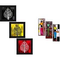 SAF Set of 3 Flower Floral Design UV Textured Decorative Gift Item Framed Painting 9.5 inch X 28.5 inch SANFO297+SAF…