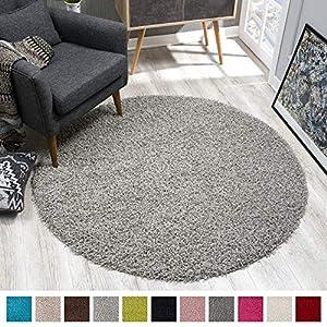 SANAT Teppich Rund - Hellgrau Hochflor, Langflor Modern Teppiche fürs Wohnzimmer, Schlafzimmer, Esszimmer oder Kinderzimmer, Größe: 150x150 cm