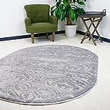 Teppich Oval Grau Versace Kurzflor 3D Ornamente Velour Designer Wohnzimmer hochwertig (120 x 170 cm)