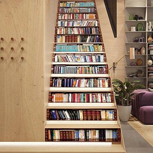 RAIN QUEEN Aufkleber Treppe Folie Sticker Selbstklebend Küche Renovieren  Bad Wand Wandtattoo Dekoration (Bücher)