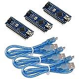 IZOKEE 3 Stück Mini Nano V3.0 Modul, ATmega328P CH340G Chip, 5V 16MHz Entwicklerboard für Arduino mit 3 Stück USB-Kabel, Verlötet