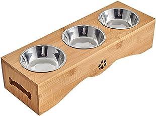 Yuncai Edelstahl Essen Wasser Fütterung Schüssel für Hunde Katzen Bambus Stent Haustier Dreifach Schüssel