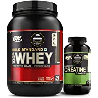 Optimum Nutrition (ON) Gold Standard 100% Whey Protein Powder - 2 lbs, 907 g (Double Rich Chocolate) + Micronized Creatine Monohydrate Powder - 300 Grams (Unflavored)