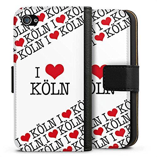 Apple iPhone X Silikon Hülle Case Schutzhülle Köln Cologne Statement Sideflip Tasche schwarz
