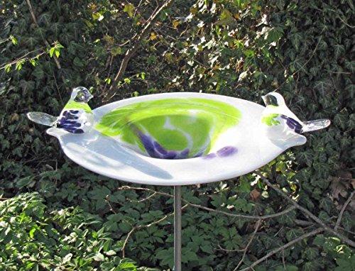 Edle Vogeltränke mit 2 Vögeln aus Glas handgefertigt Vogelbad Glasobjekt Tränke für Vögel