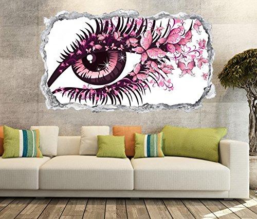 3D Wandtattoo Auge rosa Schmetterlinge Blick Frau abstrakte Kunst Wand Aufkleber Wanddurchbruch sticker selbstklebend Wandbild Wandsticker Wohnzimmer 11P218, Wandbild Größe F:ca. 162cmx97cm