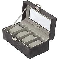 IsmatDecor Boîte à Montres Effet marbre Gris - 4 Montres