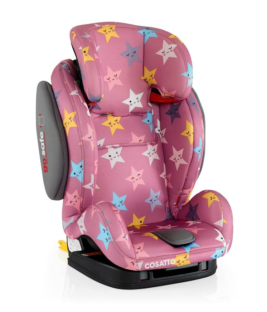 Cosatto Hug Isofix Car Seat Group 123, 9-36 kg, Happy Stars Cosatto Suitable from 9 kg-36 kg (9 months - 12 years approximatelyimately), Hug ISOFIX is an investment; it fits forward-facing in most cars with standard ISOFIX connectors and top tether anchor point The exclusive Five Point Plus Anti-Escape system deters determined wrigglers and diminishes driver distraction; it features extra-cushioned side impact protection for in-car security Impact protection for in-car security Hug ISOFIX has fabrics, a height-adjustable headrest and reclining padded seat for on-board comfort, plus easy-clean pop-off covers and liner to help you out 2