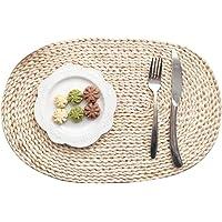 TankMR Set de table ovale en rotin tissé croisé et isolant antidérapant, lavable et résistant à la chaleur, 30 x 45 cm