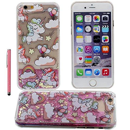 iPhone 7 Plus Coque Case Dur PC Gel Transparente Housse de Protection Anti Choc Charmant Cheval Motif Flowable coeurs coloré / Liquide Poids léger Etui Apple iPhone 7 Plus 5.5 inch X 1 stylet rose