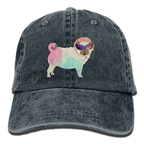 Trucker-Baseballmütze für Männer, Galaxy Pug with Cool Glass Low Profile Washed Dyed Hats Baseball Caps Adjustable