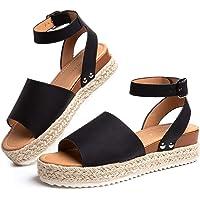 Sandale Plateforme Femme d'Ete Espadrille Sandales Compensées Mode Bout Ouvert Faux Cuir avec Sangle Cheville 5 CM Noir…