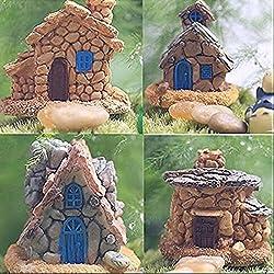 4 Piezas Miniature Casa de Piedra de Hadas Jardín , Mini Hada Casa para Decoración de Jardín y Patio - Accesorios para Decoración del Hogar Decoración Al Aire Libre