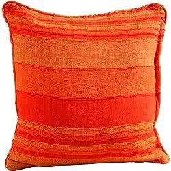 Homescapes Cojín Decorativo Cuadrado, Algodón con Relleno Blando, Color Naranja a Rayas 60 x 60 cm