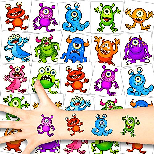 Jungs Party Kostüm - German Trendseller® 12 x Monster Kinder Tattoos - Set Tattoo - Monster Party ┃ Kindergeburtstag ┃ Mitgebsel ┃ Süße Kleine Monster ┃ 12 Tattoos