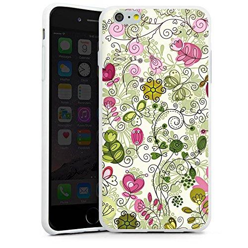 Apple iPhone X Silikon Hülle Case Schutzhülle Schmetterlinge Blumen Ranken Silikon Case weiß