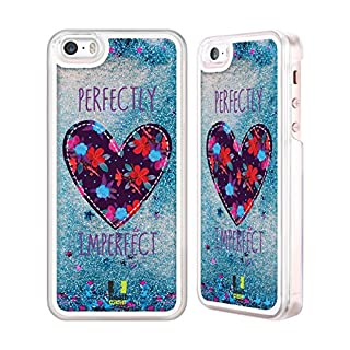 Head Case Designs Floral Heart Patches Sky Blue Liquid Glitter Case Cover for Apple iPhone 5 / 5s / SE