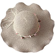 JUNGEN Moda de la mujer sombrero de paja de sol gran ancho borde de la playa cef5677f56f