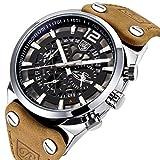 Analoge Herren-Quarz-Armbanduhr mit braunem Lederarmband, Chronograf, Datumsanzeige, großes, leuchtendes Zifferblatt, Skelett-Uhr, Militär-/Sport-Look