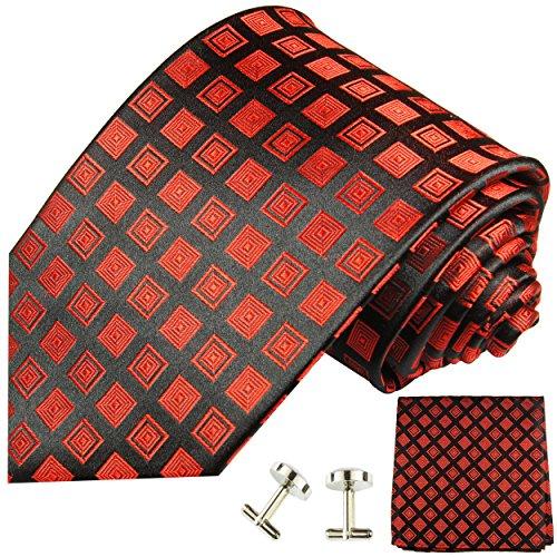 Cravate rouge noir carreaux ensemble de cravate 3 Pièces ( 100% Soie Cravate + Mouchoir + Boutons de manchette )