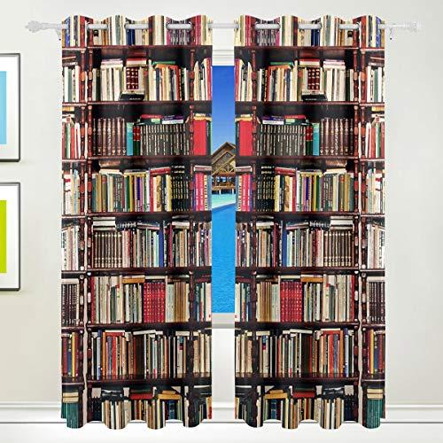 Ahomy Old Book Bücherregal Polyester Vorhänge Verdunkelungsvorhang Home Decor für Terrasse Fenster Schiebetür Glas Tür 213,3 x 139,7 cm 2 Panels Set (Bücherregal Schiebetür)