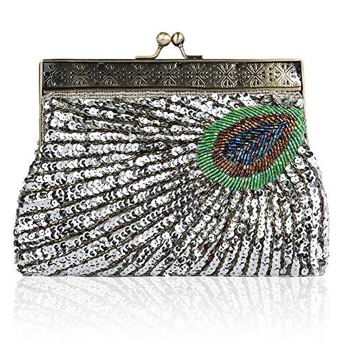 Perlen Bestickte Abendtasche (Coucoland Clutch Damen Pfau Muster 1920s Handtasche Abend Party Geldbeutel Elegante Abschlussball Handtaschen Hochzeit Braut Zubehör (Stil 2-Silber))