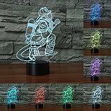 3D Pompier Table Lampe LED USB Tactile Bouton 7 Changement de couleur Pompier Nuit Lumière De...