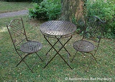 Gartentisch 2 StÜhle Set Lilie Fleur De Lis Metall Antik Stil GartenmÖbel Braun