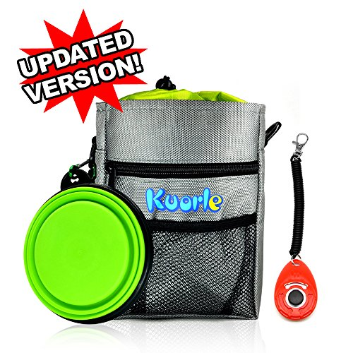 Kuorle Dog Treat Training Pouch with Waste Bags Dispenser – Collapsible Travel Bowl & Pet Training Clicker