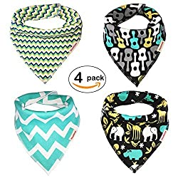 Premium Quality Set of 4 Baby Bandana Cotton Bibs for Boys & Girls by 2Kool4Drool Ideal for Drooling, Dribbling & Teething Babies Incredibly Soft & Super Absorbent - Ideal Unisex Baby Shower Gift