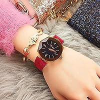 NICEWATCH Relojes Ladies Luxury Ladies Fashion Star Cuero Mate Resistente al Agua Impermeable Correa de muñeca Reloj de Cuarzo, Correa roja