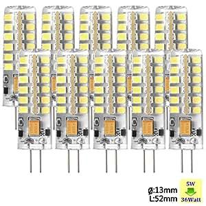 Sunix® 10X Haute Puissance G4 5W 48 SMD 2835 DC/AC 12V LED Silicone Lampe Ampoule à broches Spotlight Économie d'énergie Blanc Pur Dimmable SU026