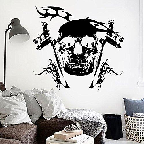 haotong11 Skeleton Pirate Wall Decor Vinyl Aufkleber Wandbild Poster Tattoo Parlor Gun Maschine Wohnzimmer Dekoration Klebstoff Wand Papier 62 * 57 cm