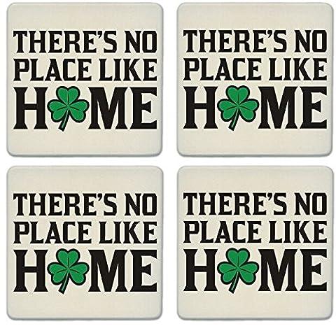 CoasterStone Absorbent Coasters, No Place Like Home Shamrock (Set of