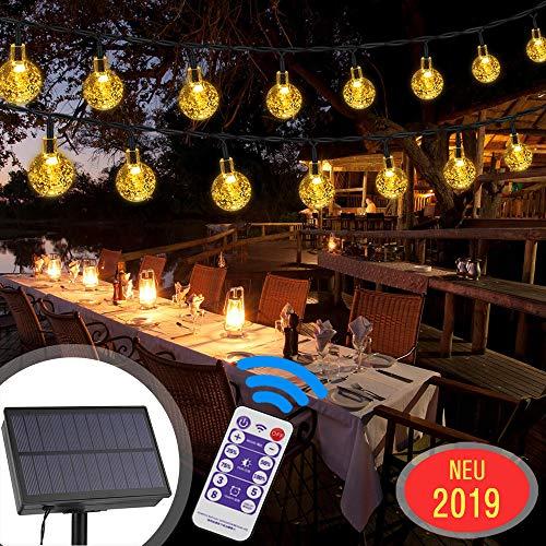 Nasharia LED Solar Lichterkette Aussen, 30er LED 8 Modi IP65 Wasserdicht Warmweiß Außerlichterkette Deko Beleuchtung Kugel mit Fernbedienung| Warmweiß für Garten,Hochzeiten, Partys[Energieklasse A+++]