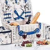 Picknickkorb für 4 Personen - Luxus Weidenkorb für Picknick mit Picknickdecke und Kühltasche