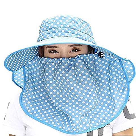 Ezyoutdoor Women Wave Dot Large Brimmed Anti-UV Sun Hat With Removable Sun Shield And Neck Face Mask Protection With Folding Brim Outdoor Hat for Fishing Hunting Camping Swimming Hiking (Light Blue)