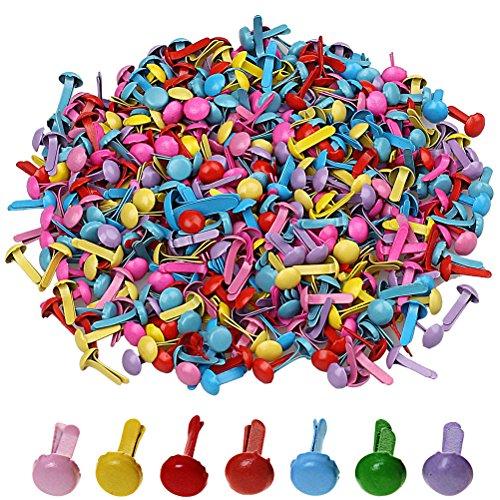 ofoen 500Teile Mini Brads, rund 5mm Briefkopfklammern Papier Basteln Stanzen Scrapbooking DIY-Werkzeug, zufällige Farbe