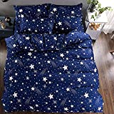 Sky Tex Royal Blue Cotton Stars Printed 140 TC Cotton Double Bed Sheet With 2 Pillow Covers