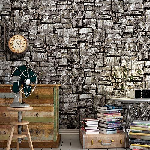 3D Wandaufkleber antike Kultur Stein 3D Retro Ziegel Tapete Ziegel Rock blau Schiefer Tapete 0,53 * 10M - Schiefer Stein Ziegel