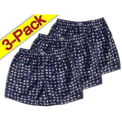 (m) colour azul marino y blanco Dunkeblau 3er Pack nnow calzoncillos de tipo BOXER para hombre ropa interior Calzoncillos Boxer Short de tela de satén